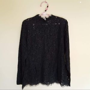H&M black sheer lace blouse size large